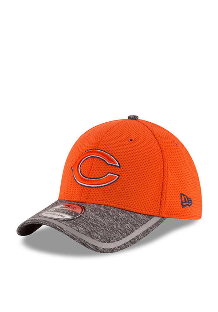 New Era Chicago Bears Mens Orange 2016 Training Camp Official 39THIRTY Flex Hat - Image 1
