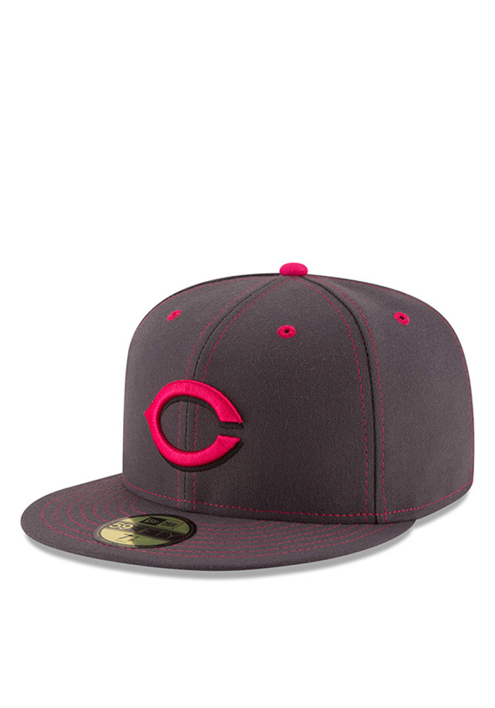 New Era Cincinnati Reds Mens Grey 2016 Mothers Day 59FIFTY Fitted Hat - Image 1