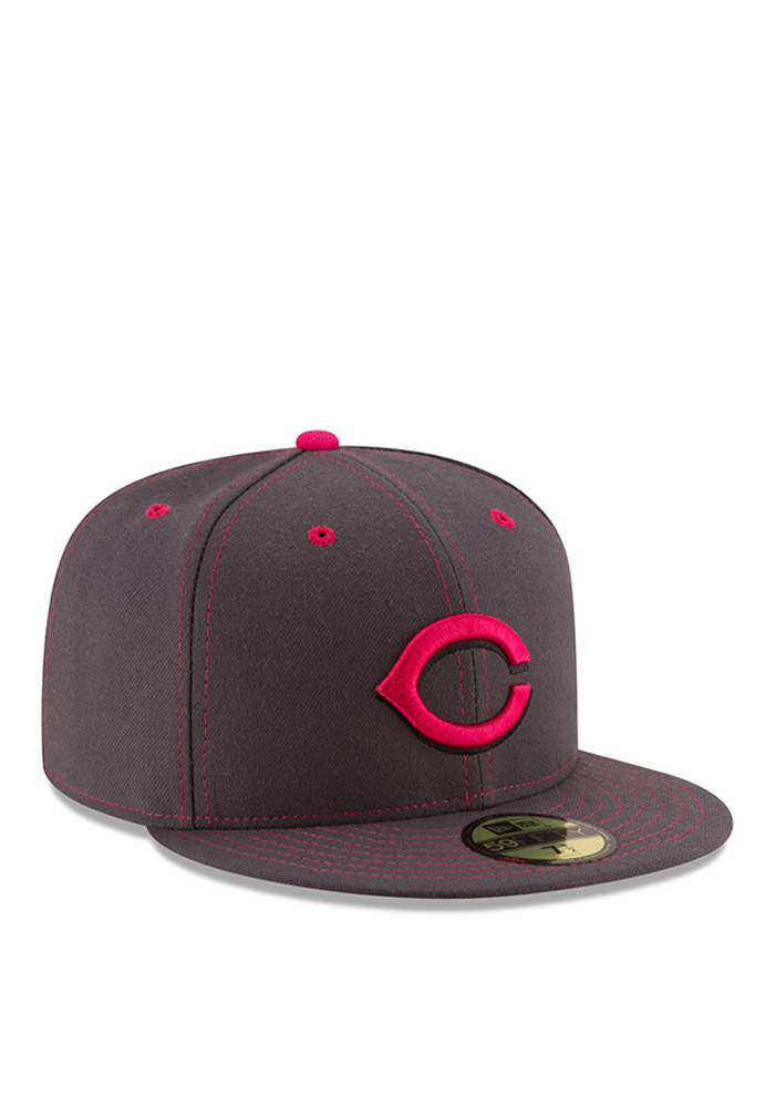 New Era Cincinnati Reds Mens Grey 2016 Mothers Day 59FIFTY Fitted Hat - Image 2