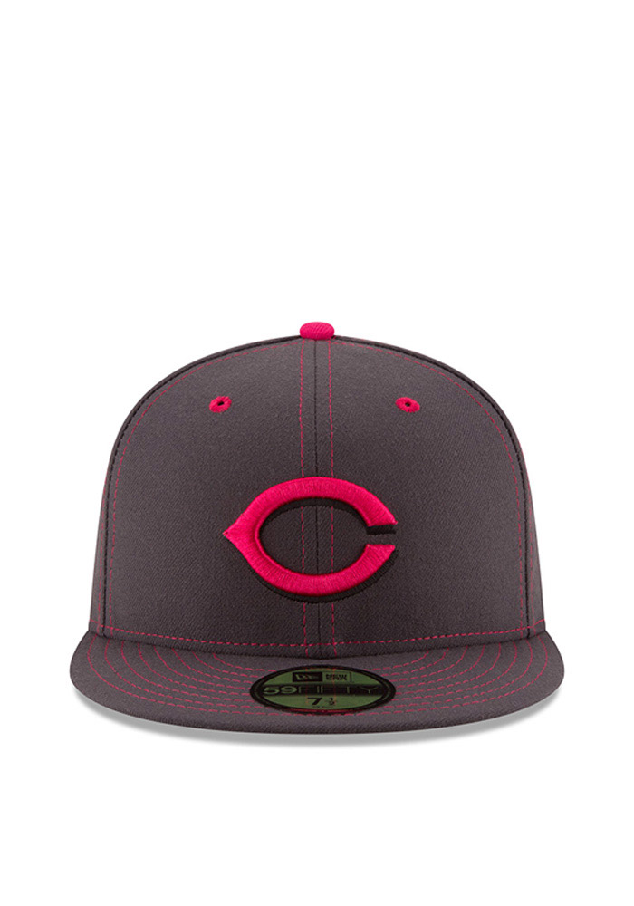 New Era Cincinnati Reds Mens Grey 2016 Mothers Day 59FIFTY Fitted Hat - Image 3