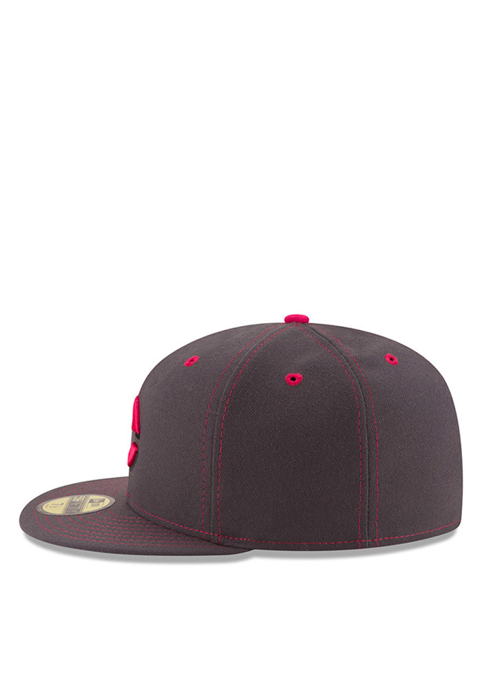 New Era Cincinnati Reds Mens Grey 2016 Mothers Day 59FIFTY Fitted Hat - Image 4