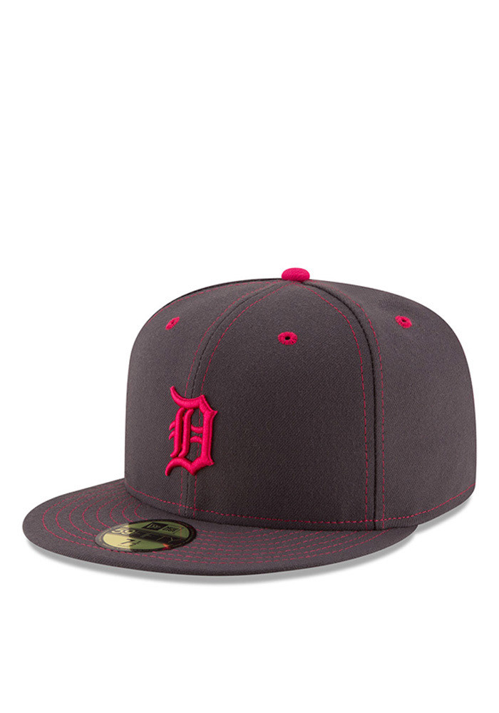 New Era Detroit Tigers Mens Grey 2016 Mothers Day 59FIFTY Fitted Hat - Image 1