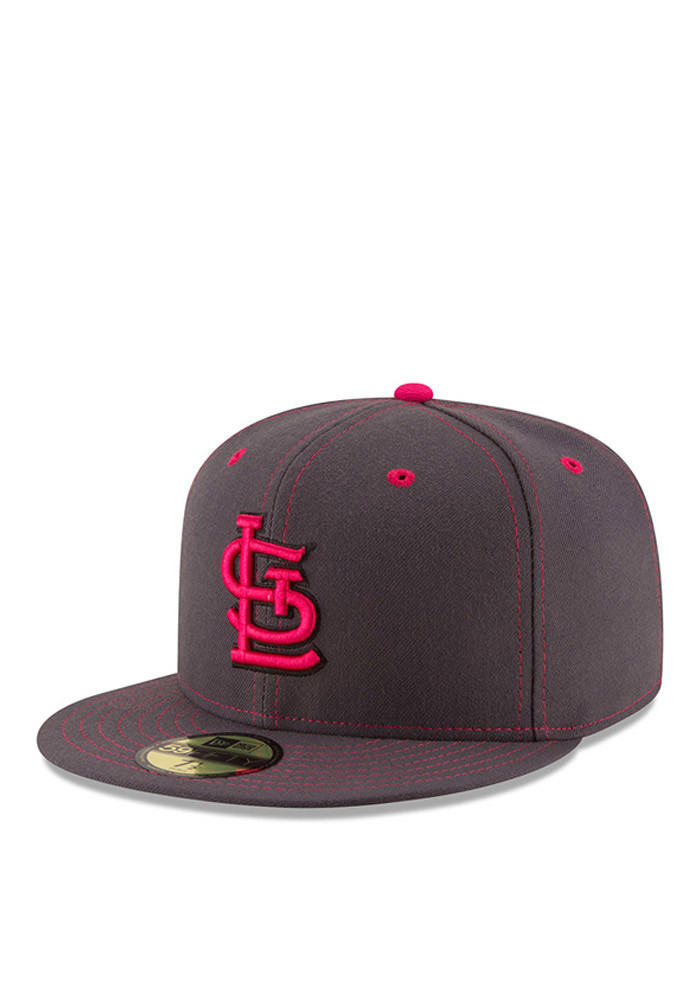 New Era St Louis Cardinals Mens Grey 2016 Mothers Day 59FIFTY Fitted Hat - Image 1