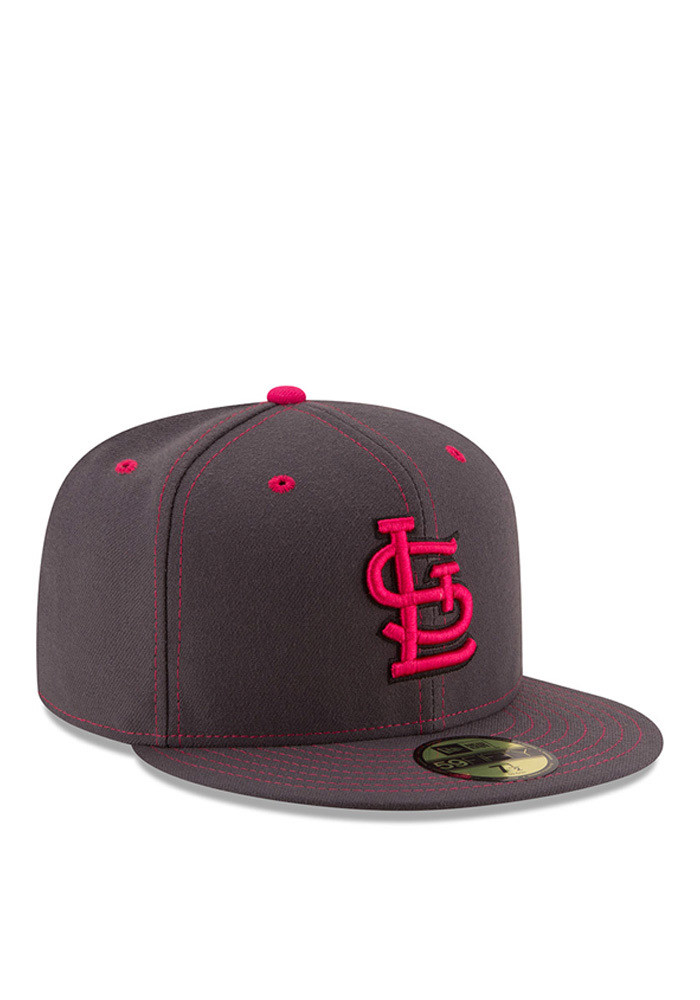 New Era St Louis Cardinals Mens Grey 2016 Mothers Day 59FIFTY Fitted Hat - Image 2