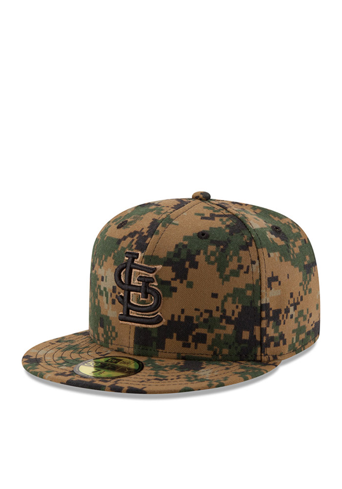 New Era St Louis Cardinals Mens Green 2016 Memorial Day 59FIFTY Fitted Hat - Image 1