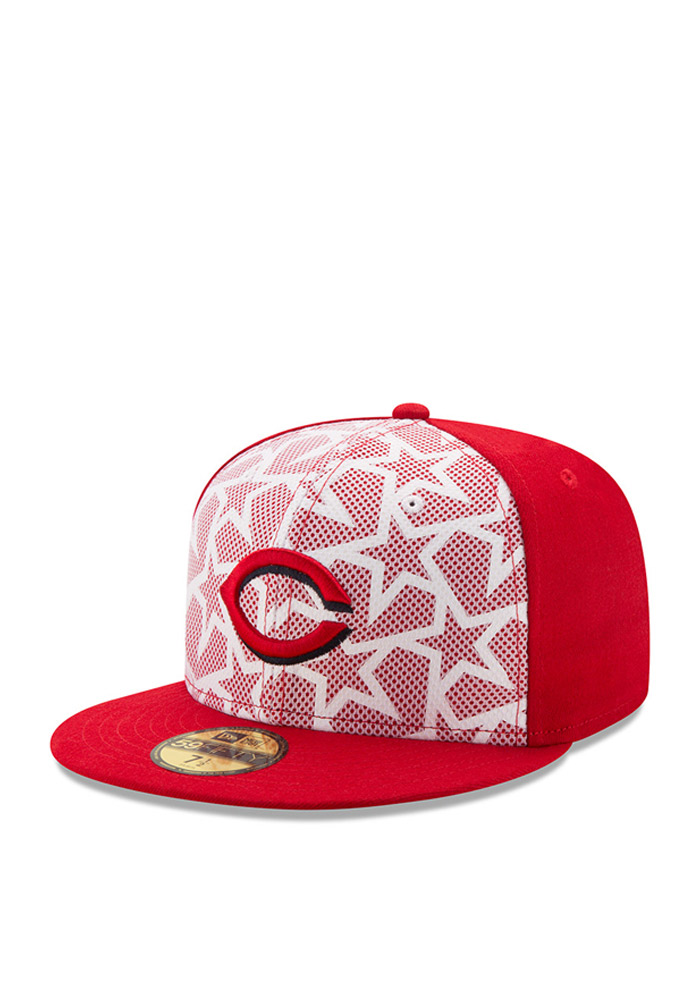 New Era Cincinnati Reds Mens Red 2016 4th of July 59FIFTY Fitted Hat - Image 1