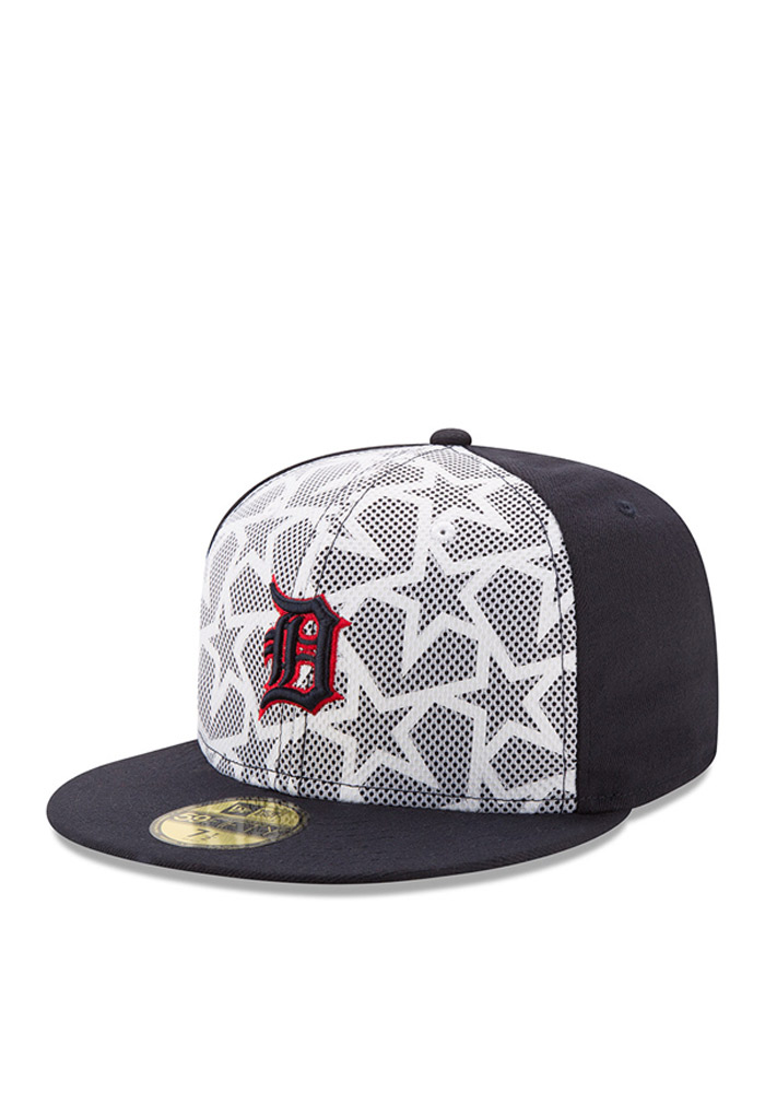 New Era Detroit Tigers Mens Navy Blue 2016 4th of July 59FIFTY Fitted Hat - Image 1