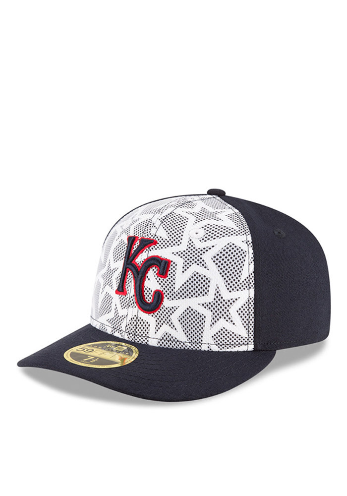 New Era Kansas City Royals Mens Navy Blue 2016 4th of July Low Profile 59FIFTY Fitted Hat - Image 1