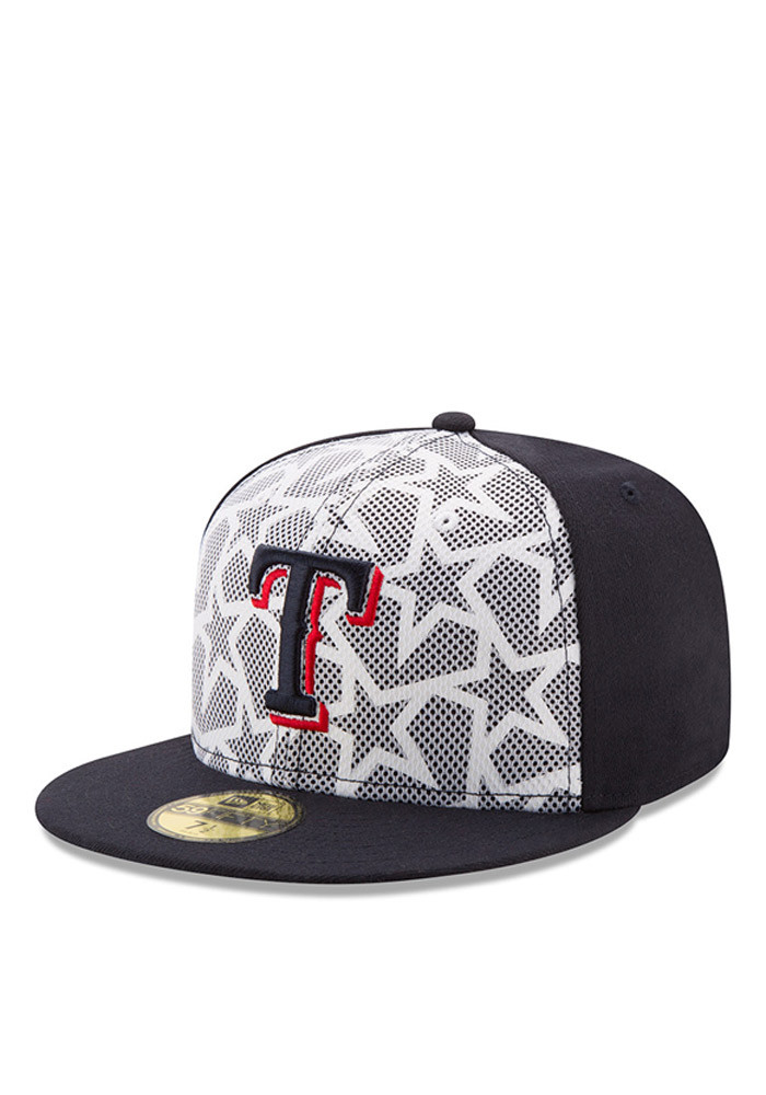 New Era Texas Rangers Mens Navy Blue 2016 4th of July 59FIFTY Fitted Hat - Image 1