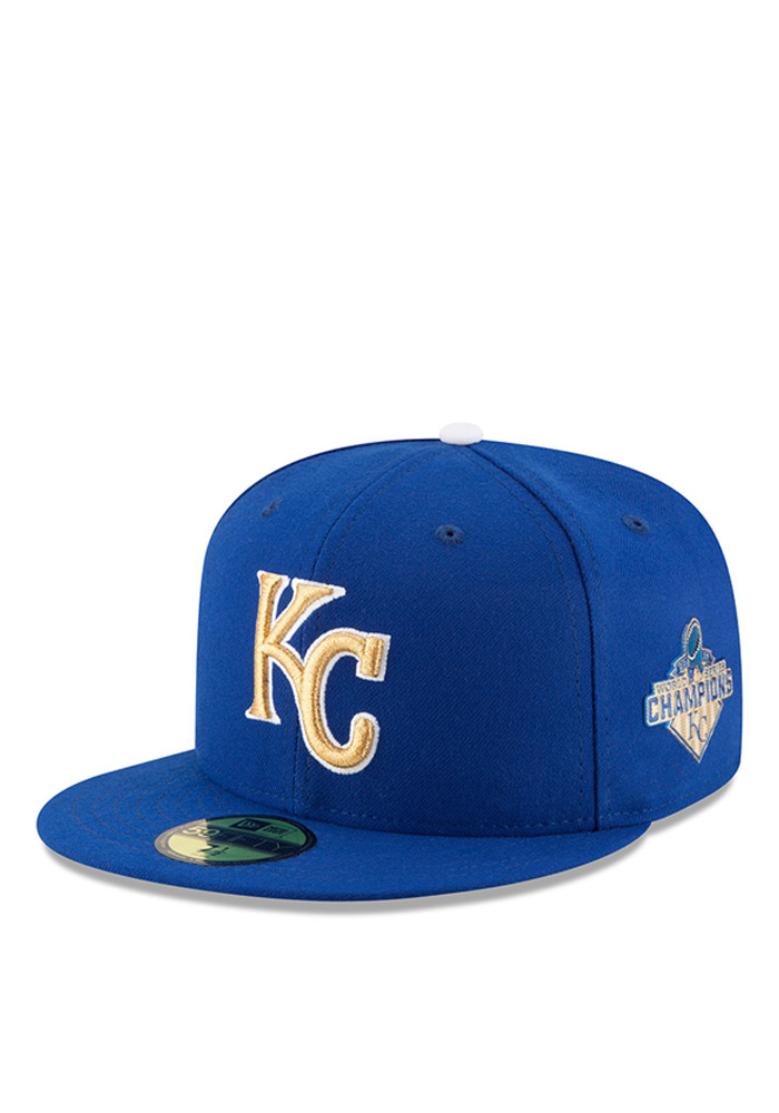 on sale ad1e0 98a81 closeout royals gold tease cap c8583 e23d7  spain kansas city royals new era  blue 2015 ws champions commemorative 59fifty fitted hat 69f31 498dc
