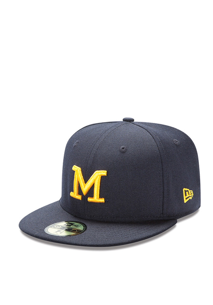 New Era Michigan Wolverines Mens Navy Blue Basic 59FIFTY Fitted Hat - Image 1