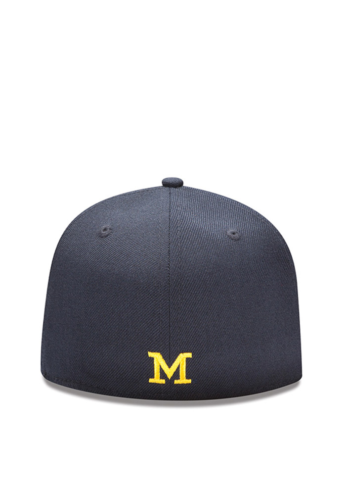 New Era Michigan Wolverines Mens Navy Blue Basic 59FIFTY Fitted Hat - Image 2