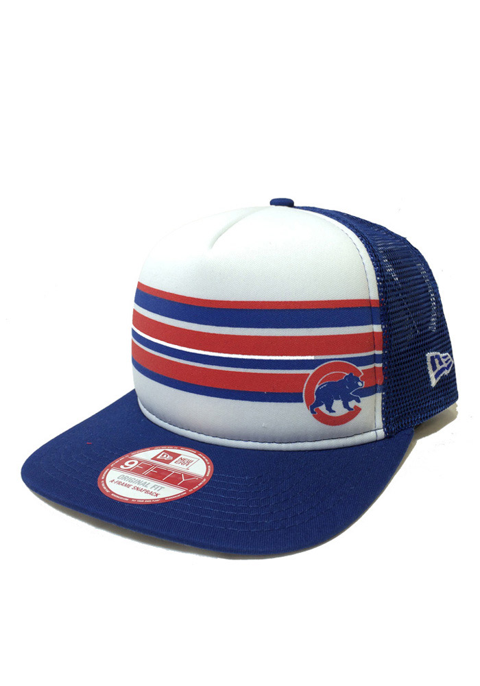 New Era Chicago Cubs Blue Rally Stripe 9FIFTY Mens Snapback Hat - Image 1