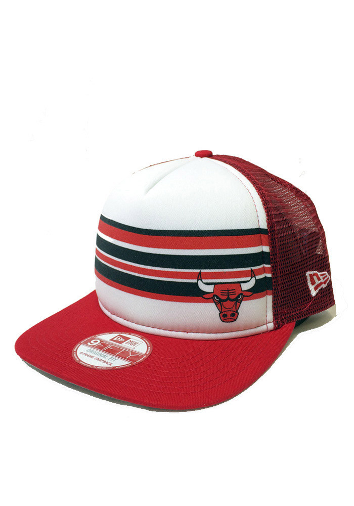 New Era Chicago Bulls Red Rally Stripe 9FIFTY Mens Snapback Hat - Image 1