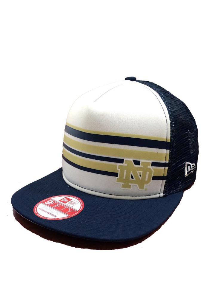 New Era Notre Dame Fighting Irish Navy Blue Rally Stripe 9FIFTY Mens Snapback Hat - Image 1