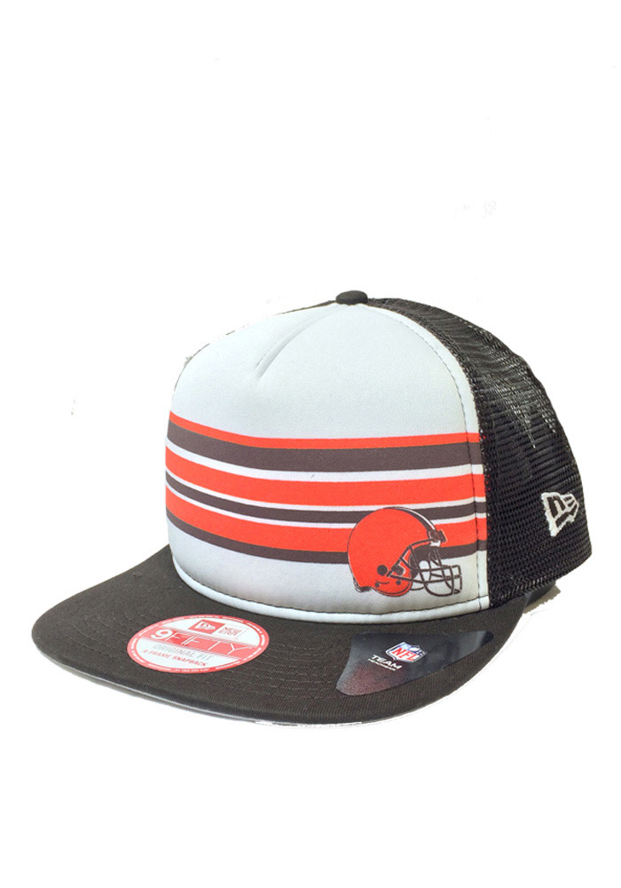 New Era Cleveland Browns Brown Rally Stripe 9FIFTY Mens Snapback Hat - Image 1