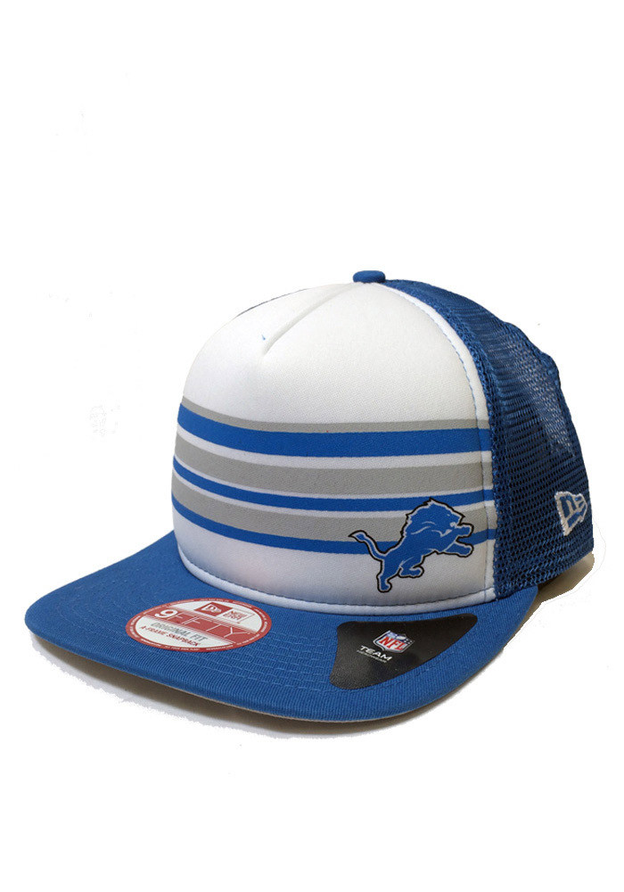 New Era Detroit Lions Blue Rally Stripe 9FIFTY Mens Snapback Hat - Image 1