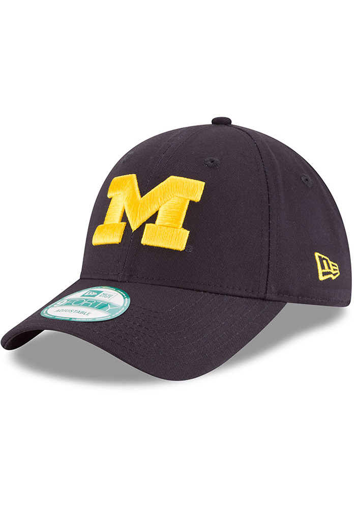 New Era Michigan Wolverines Mens Navy Blue The League 9FORTY Adjustable Hat - Image 1