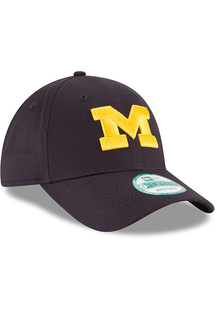 New Era Michigan Wolverines Mens Navy Blue The League 9FORTY Adjustable Hat - Image 2