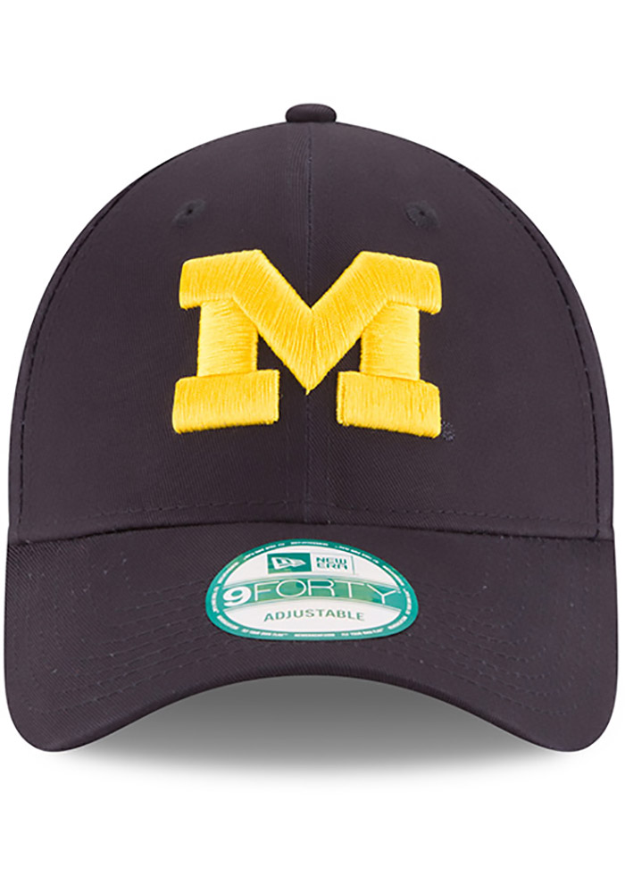 New Era Michigan Wolverines Mens Navy Blue The League 9FORTY Adjustable Hat - Image 3