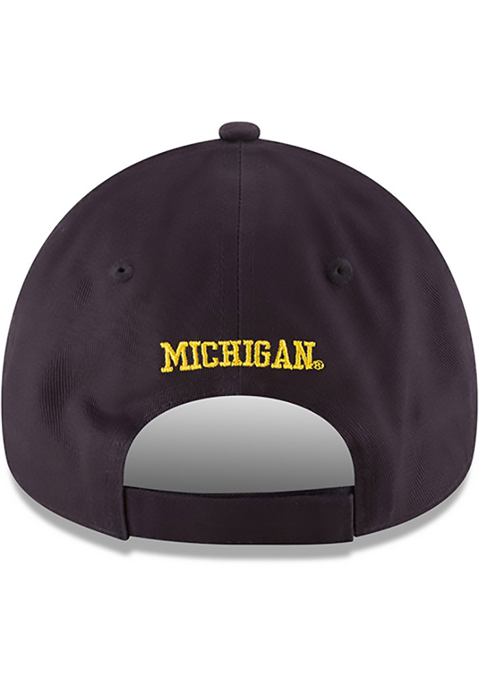 New Era Michigan Wolverines Mens Navy Blue The League 9FORTY Adjustable Hat - Image 5