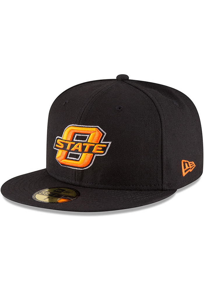 New Era Oklahoma State Cowboys Mens Black College 59FIFTY Fitted Hat, Black, 100% POLYESTER, Size 7 3/8