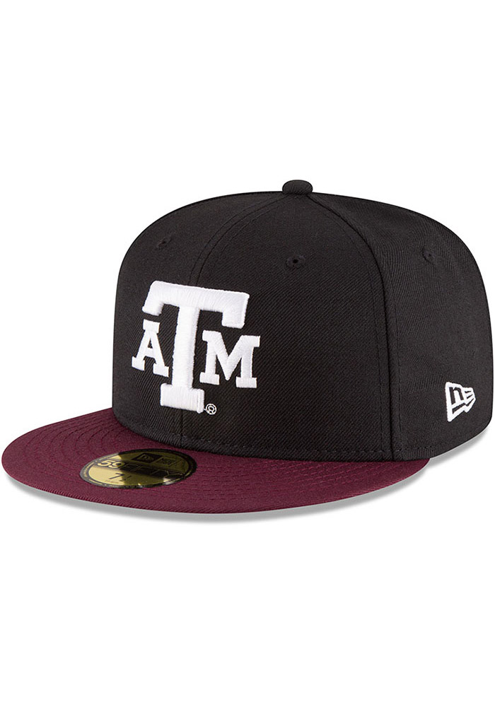 New Era Texas A&M Aggies Mens Black College 59FIFTY Fitted Hat - Image 1