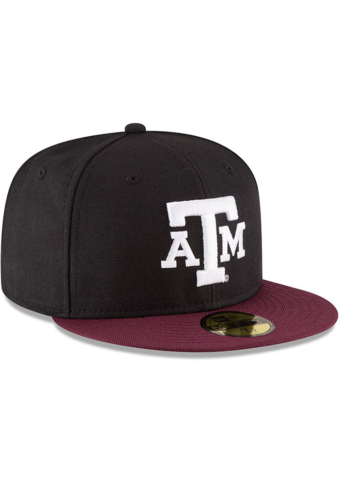 New Era Texas A&M Aggies Mens Black College 59FIFTY Fitted Hat - Image 2