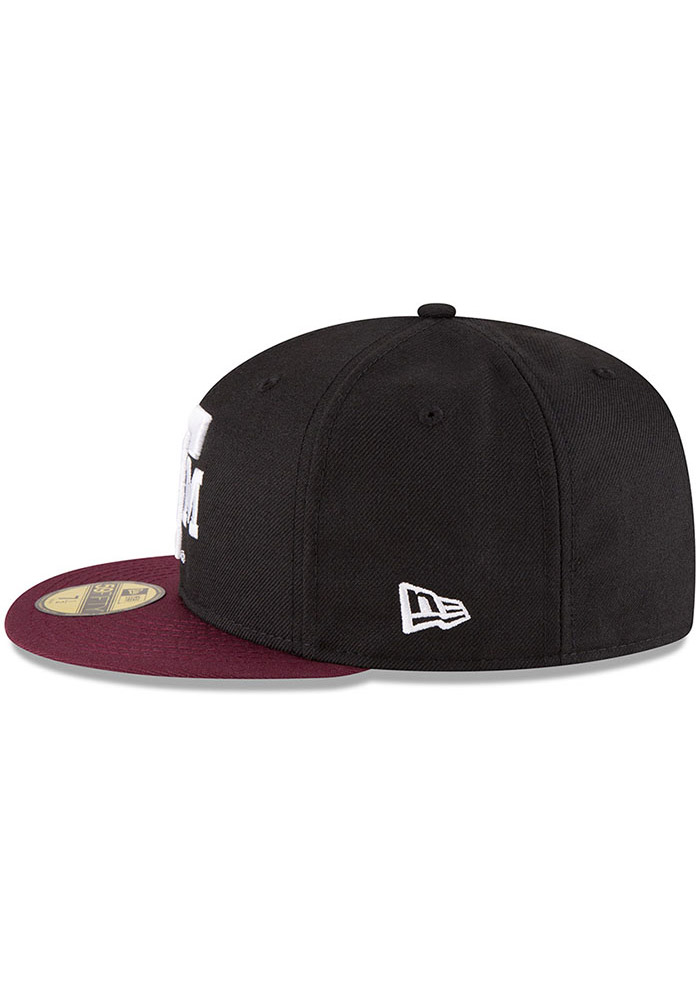 New Era Texas A&M Aggies Mens Black College 59FIFTY Fitted Hat - Image 4