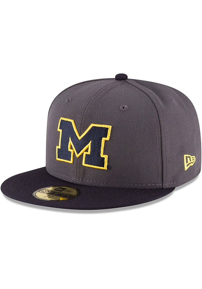 New Era Michigan Wolverines Mens Grey College 59FIFTY Fitted Hat - Image 1 56a2e13c7b6c