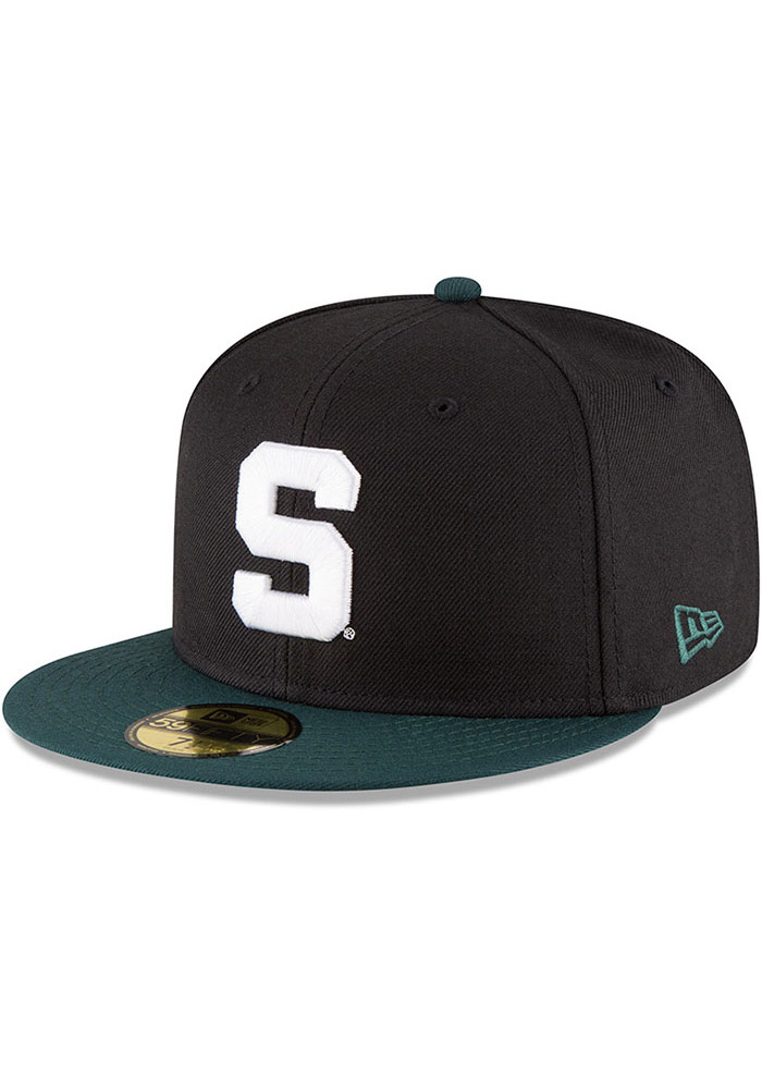 New Era Michigan State Spartans Mens Black College 59FIFTY Fitted Hat -  Image 1 eb78934d79e4
