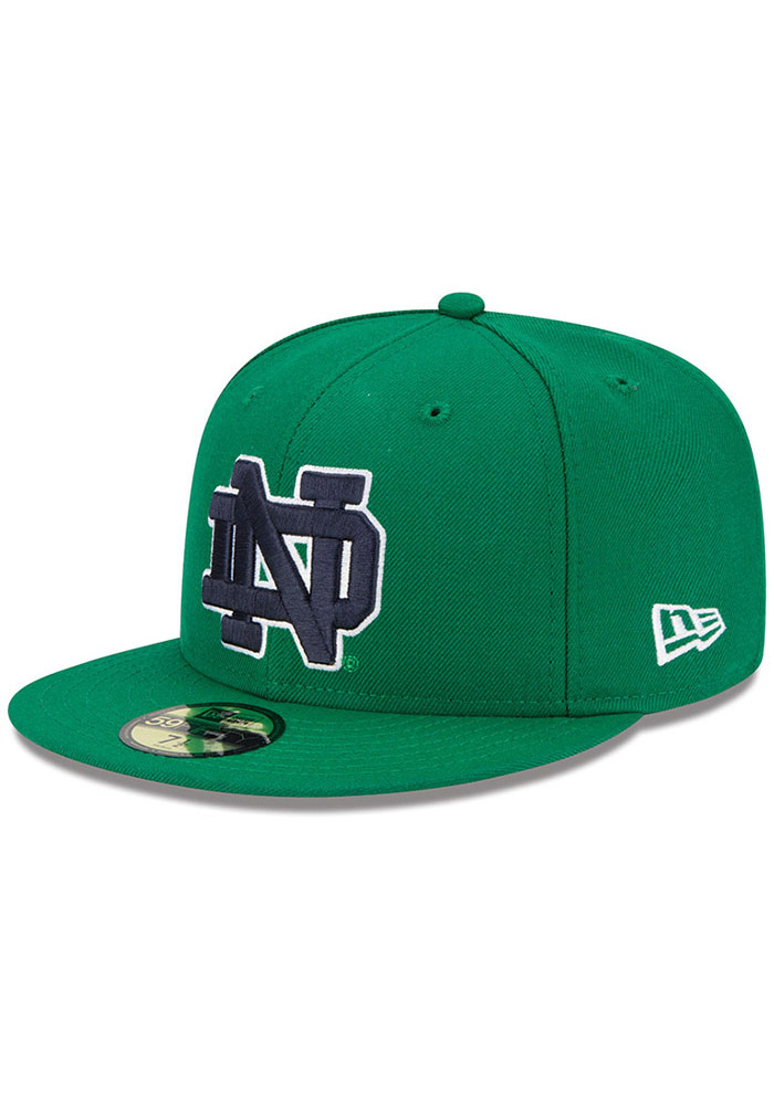 New Era Notre Dame Fighting Irish Mens Kelly Green College 59FIFTY Fitted Hat - Image 1