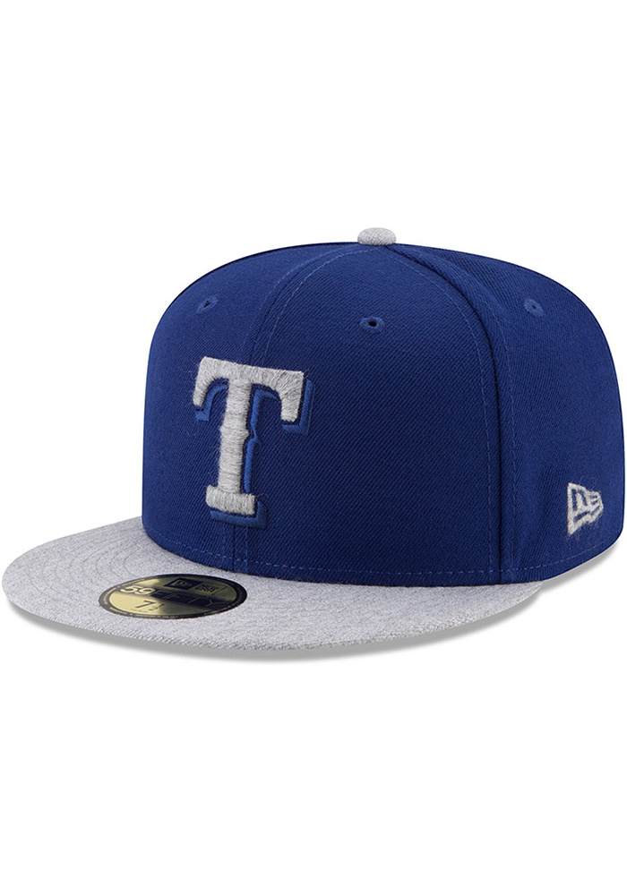 New Era Texas Rangers Mens Blue Heather Fresh Fit 59FIFTY Fitted Hat - Image 1