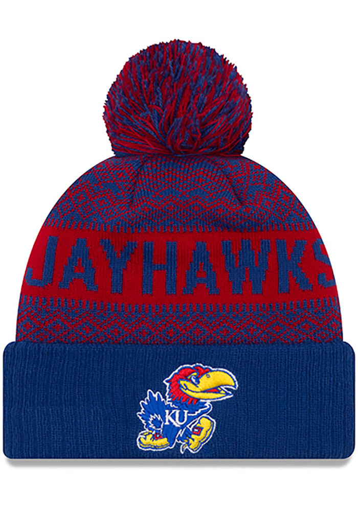 New Era Kansas Jayhawks Blue Wintry Pom 2 Cuff Mens Knit Hat, Blue, 100% ACRYLIC, Size OSFM