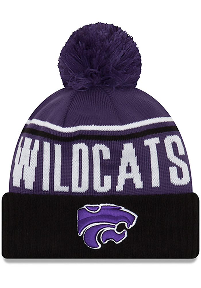 New Era K-State Wildcats Purple Wintry Pom 2 Cuff Mens Knit Hat, Purple, 100% ACRYLIC, Size OSFM