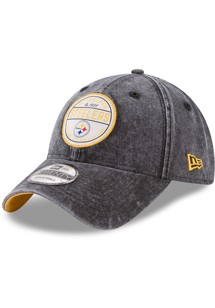 sale retailer 7dcc9 3ab96 ... where can i buy new era pittsburgh steelers mens black retro adjust  9twenty adjustable hat image