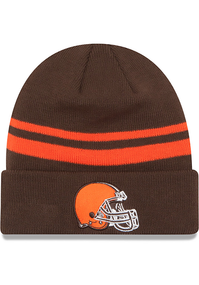 New Era Cleveland Browns Brown Cuff Mens Knit Hat - Image 1