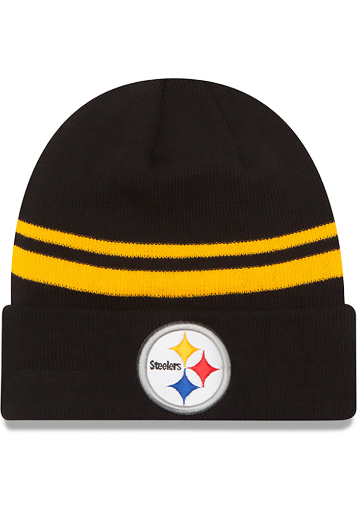 New Era Pittsburgh Steelers Black Cuff Mens Knit Hat - Image 1