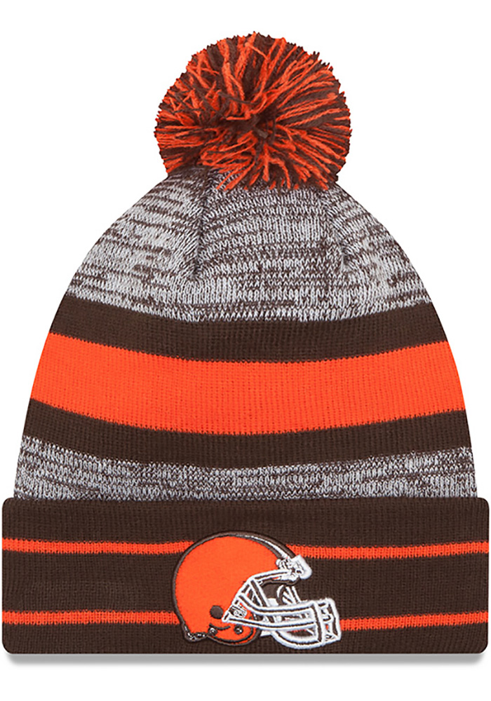 New Era Cleveland Browns Brown Cuff Pom Mens Knit Hat - Image 1