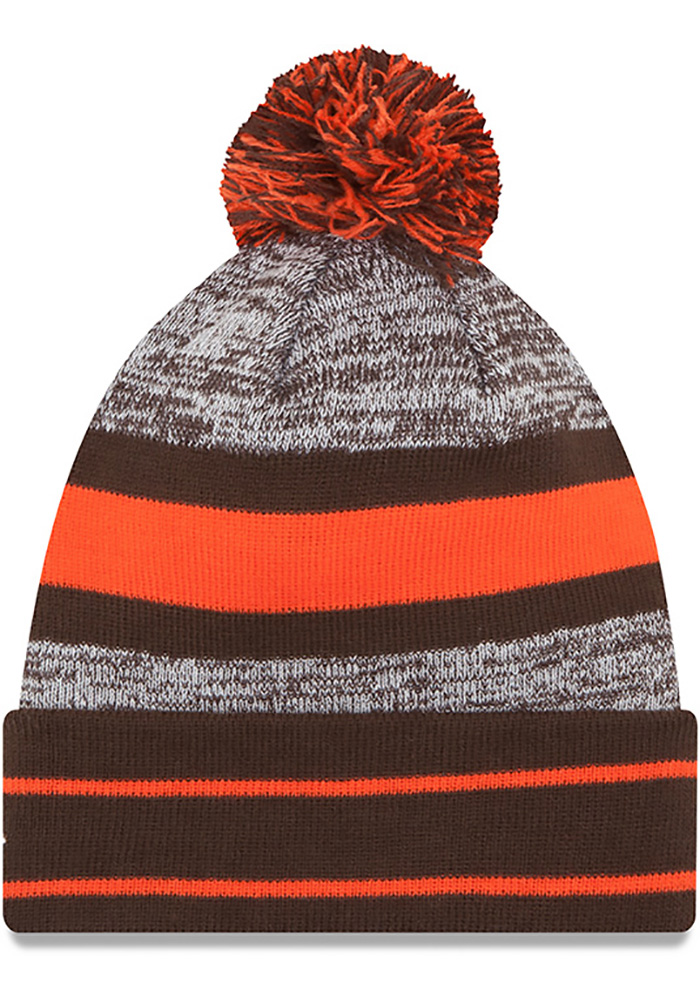 New Era Cleveland Browns Brown Cuff Pom Mens Knit Hat, Brown, 100% ACRYLIC, Size OSFM