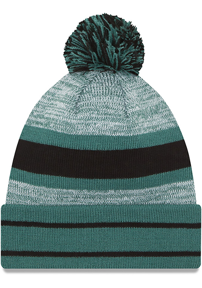 New Era Philadelphia Eagles Midnight Green Cuff Pom Mens Knit Hat - Image 2