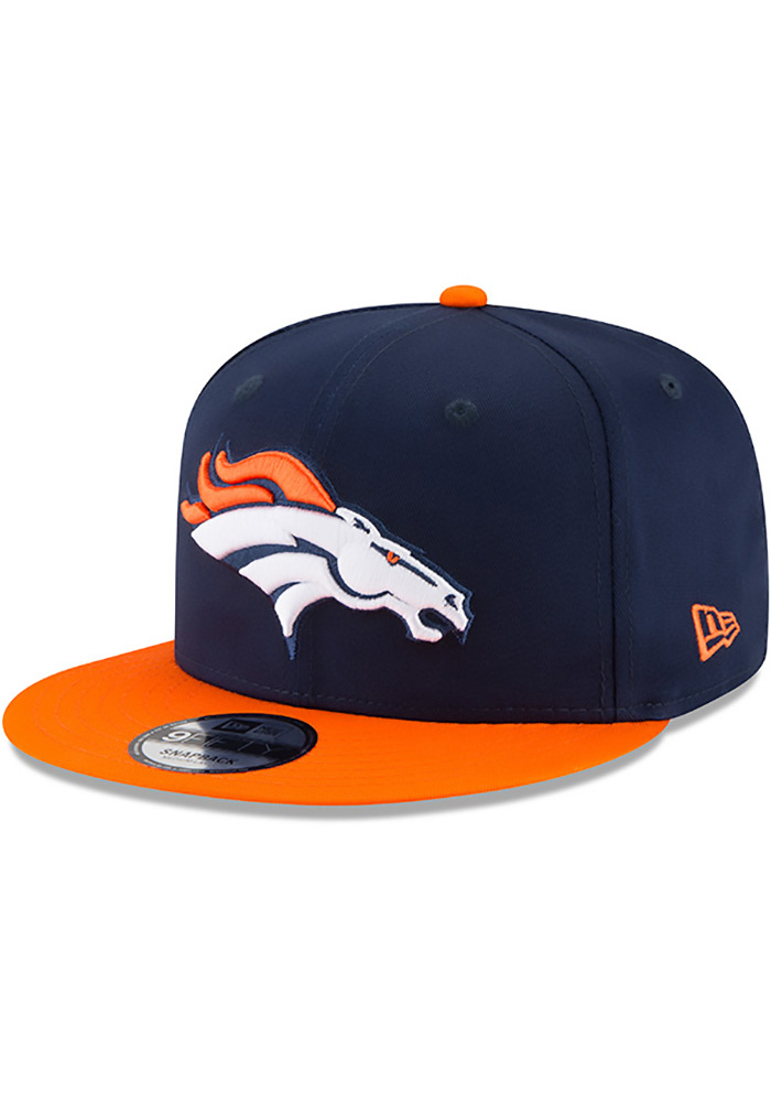 New Era Denver Broncos Navy Blue Baycik 9FIFTY Mens Snapback Hat - Image 1