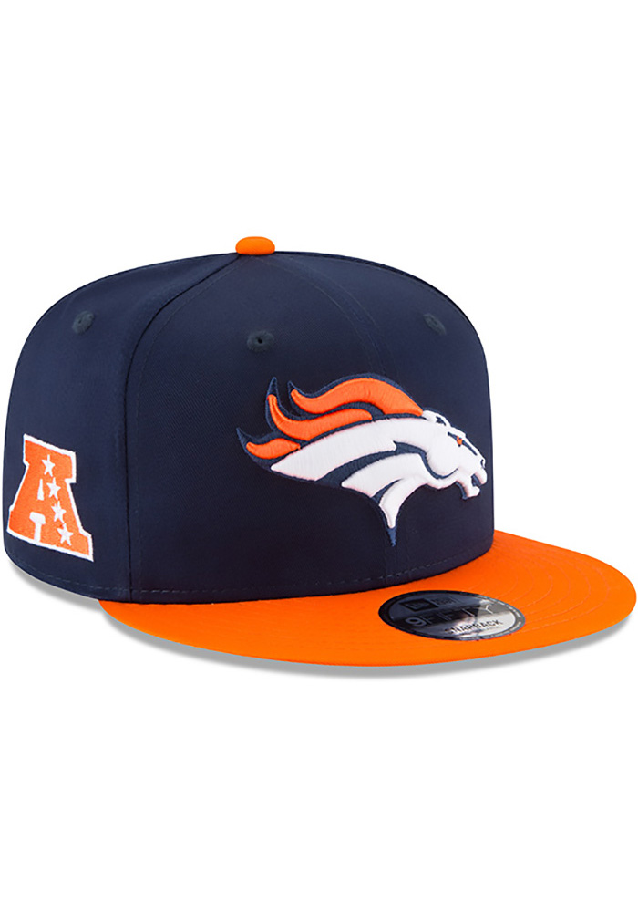 New Era Denver Broncos Navy Blue Baycik 9FIFTY Mens Snapback Hat - Image 2