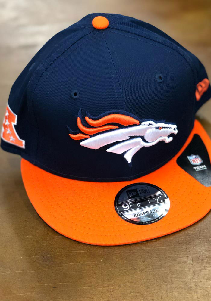 New Era Denver Broncos Navy Blue Baycik 9FIFTY Mens Snapback Hat - Image 7