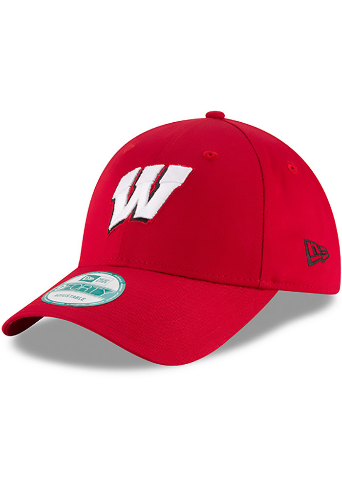 New Era Wisconsin Badgers Mens Red The League 9FORTY Adjustable Hat - Image 1