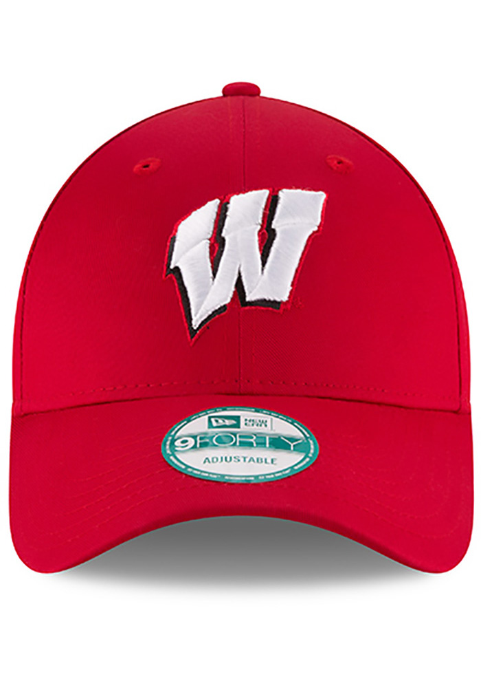 New Era Wisconsin Badgers Mens Red The League 9FORTY Adjustable Hat - Image 3