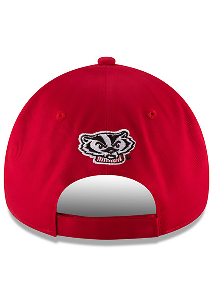New Era Wisconsin Badgers Mens Red The League 9FORTY Adjustable Hat - Image 5