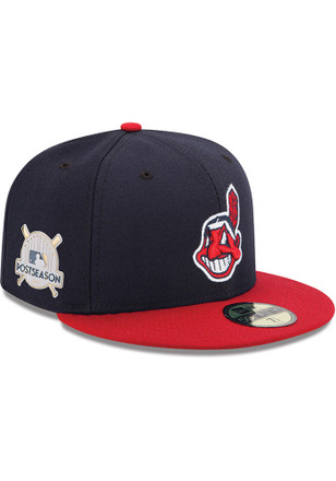Cleveland Indians New Era Mens Navy Blue 2017 Postseason Side Patch 59FIFTY Fitted Hat
