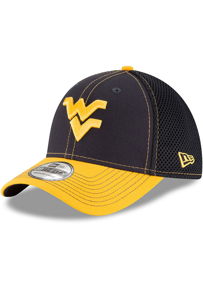 New Era West Virginia Mountaineers Mens Navy Blue 2T Neo 39THIRTY Flex Hat - Image 1