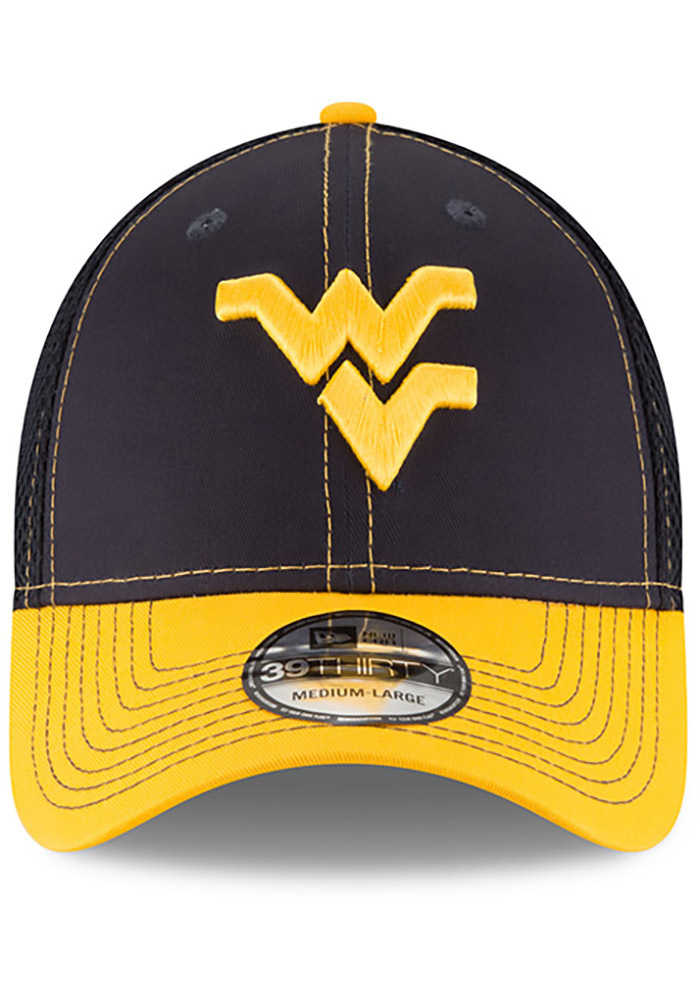 New Era West Virginia Mountaineers Mens Navy Blue 2T Neo 39THIRTY Flex Hat - Image 3